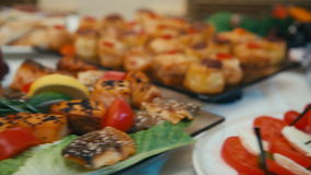 Buffet, table, food, Banquet, fruit, meat, stock video footage