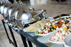 Buffet table with salads Royalty Free Stock Photography