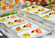 Buffet table with the served dish Royalty Free Stock Photo