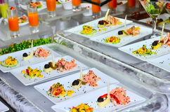 Buffet table with the served dish Stock Photography
