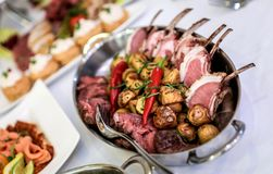Buffet table, serving Royalty Free Stock Photo