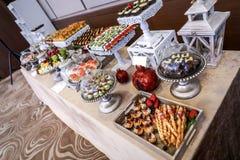 Buffet table, serving Stock Photos