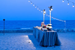 Buffet Table set up with food in twilight time Stock Photography