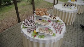 Buffet table in the street for guests. stock video footage