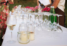 Buffet table and waiters service during party Stock Image