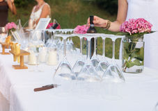 Buffet table and waiters service during a celebration party Royalty Free Stock Images