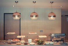 Buffet Table for waiting for guests. Royalty Free Stock Images