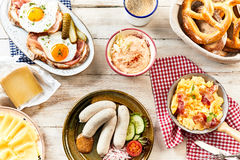 Buffet of traditional bavarian breakfast foods Stock Image