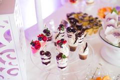 Buffet with a variety of delicious sweets, food ideas, celebration Royalty Free Stock Photo