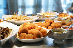Buffet with various dishes Stock Photos