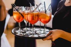 Buffet wedding drink snack. Aperol Stock Photos