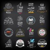 Buffetmenü, Restaurantdesign Alle, die Sie essen können Vektor mit grap Lizenzfreies Stockfoto