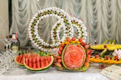 Buffets, appetizers, wedding table Stock Photo