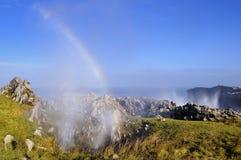Bufones DE Pria in de kust dichtbij een klip in Asturias stock fotografie