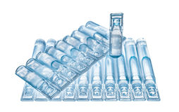 Bufus - gota plástica, ampola, tubo de ensaio, pulverizador Fotografia de Stock Royalty Free