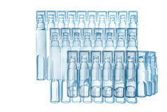 Bufus - plastic drop, ampoule, vial, spray. Bufus - plastic drop, ampoule, vial, spray the medicine . Cast resin sealed container filled with a liquid drug Royalty Free Stock Images