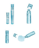 Bufus - plastic drop, ampoule, vial, spray. Bufus - plastic drop, ampoule, vial, spray the medicine . Cast resin sealed container filled with a liquid drug Stock Image
