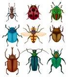 bug насекомое иконы шаржа иллюстрация вектора