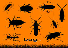 Bug. Black silhouette of various bugs Stock Images
