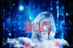 Bug against lines of blue blurred letters falling Royalty Free Stock Photos