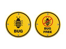 Bug alert sign. Bug and free bug sign suitable for alert signs Royalty Free Stock Photography