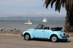 Bug by bay with yachts and pal. A powder blue convertible parked by the bay with sailboats and a palm tree stock images