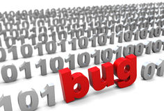 Bug in binary code. 3d illustration of text 'bug' in binary code, over white background Royalty Free Stock Image