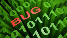 Bug in the binary code - 3D rendering. BUG is written with red letters among many zeros and ones written in the green characters of the computer screen Royalty Free Stock Images