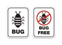 Bug and bug free alert signs. Alert sign with the words bug and bug free with illustrations Stock Image