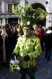 Bug costume. Man in a interesting green costume with bugs. I think he is some garden worker from imagination, pretty nice idea. Picture taken in Venice at the Stock Images