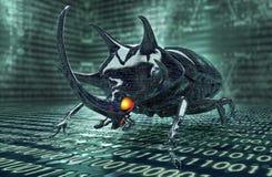 Bug di concetto di sicurezza di Digital nell'ambiente elettronico Fotografia Stock Libera da Diritti