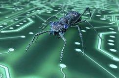 Bug di concetto di sicurezza di Digital nell'ambiente elettronico, 3 Immagine Stock