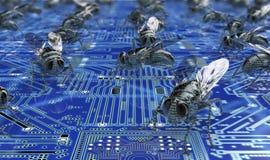 Bug di concetto di sicurezza di Digital nell'ambiente elettronico, Immagine Stock