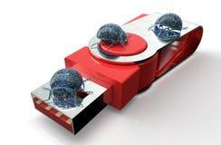 Bug di concetto di sicurezza di Digital sul bastone del usb, illustratio 3D Fotografie Stock
