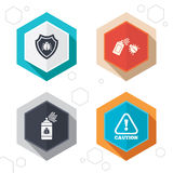 Bug disinfection signs. Caution attention icon Royalty Free Stock Images