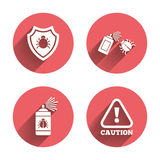Bug disinfection signs. Caution attention icon Royalty Free Stock Photo