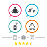 Bug disinfection signs. Caution attention icon. Bug disinfection icons. Caution attention symbol. Insect fumigation spray sign. Calendar, internet globe and Royalty Free Stock Photography