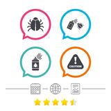 Bug disinfection signs. Caution attention icon. Bug disinfection icons. Caution attention symbol. Insect fumigation spray sign. Calendar, internet globe and Stock Image