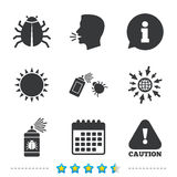 Bug disinfection signs. Caution attention icon. Royalty Free Stock Image