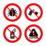 Bug disinfection signs. Caution attention icon Stock Images