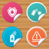 Bug disinfection signs. Caution attention icon. Stock Photography