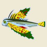 Bug-eyed monster fish with large yellow-green fins royalty free illustration