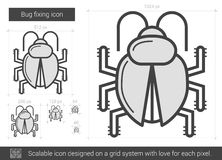 Bug fixing line icon. Royalty Free Stock Images