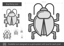 Bug fixing line icon. Royalty Free Stock Photography