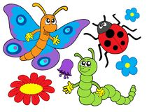 Bug and flower illustration Royalty Free Stock Photos