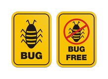 Bug free - alert signs. Bug free and bug signs suitable for alert signs Royalty Free Stock Photos