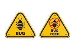 Bug free - yellow signs. Bug free and bug triangle signs, suitable for allert signs Royalty Free Stock Image