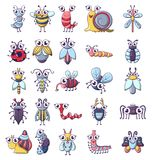 Bug funny insect icons set, cartoon style. Bug funny insect icons set. Cartoon illustration of 25 bug funny insect vector icons for web stock illustration