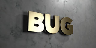 Bug - Gold sign mounted on glossy marble wall  - 3D rendered royalty free stock illustration Stock Photo