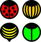 Bug icons. Four icons of flying insects Royalty Free Stock Image